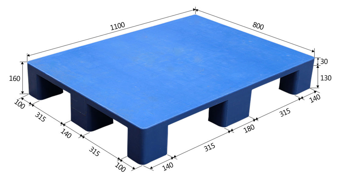 Heavy Duty Industrial Plastic Pallets 1100×800×140mm / Nine Foot Flat Plastic Tray